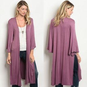 Sweaters - LAST 1 Mauve long duster split hem cardigan/kimono